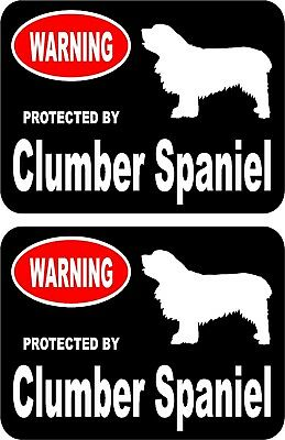 2 protected by Clumber Spaniel dog car home window vinyl decals stickers #A