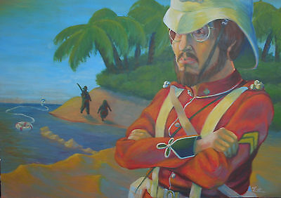 Victorian British Army - Original Oil Painting Artist Theodore Arthur dtd 1979
