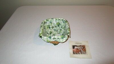 Longaberger 2006 St. Patrick's Lucky Twist Basket w/Fabric Liner & Protector