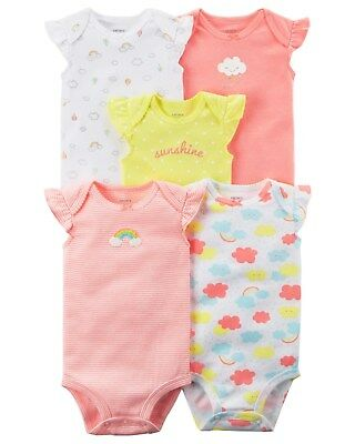 New Carter's Girls Rainbow 5 Pack Bodysuits Tank Tops NWT NB 3 6m 9m 12m 18m 24m