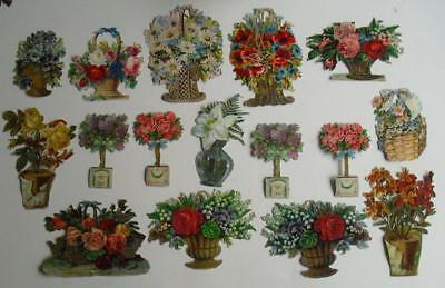 16 Large Victorian Chromo Die Cut Relief Scraps. Flowers in Baskets