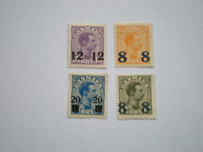 Denmark 4 x mint early King Christian overprinted stamps