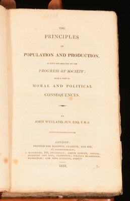 1816 The Principles of Population and Production John Weyland First Edition