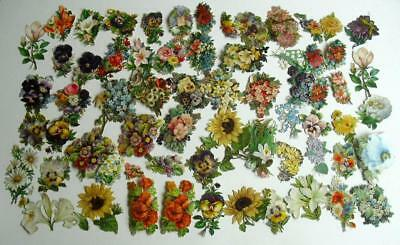 Victorian Chromo Die Cut Relief Scraps. Job lot 60+ Medium Flowers for Decoupage