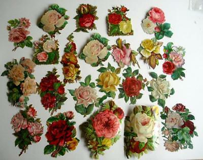 Victorian Chromo Die Cut Relief Scraps. Job lot 22 Large Roses for Decoupage