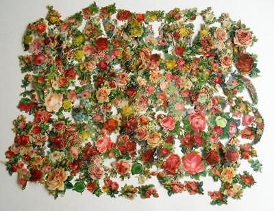 Victorian Chromo Die Cut Relief Scraps. Job lot c200 Small Roses for Decoupage