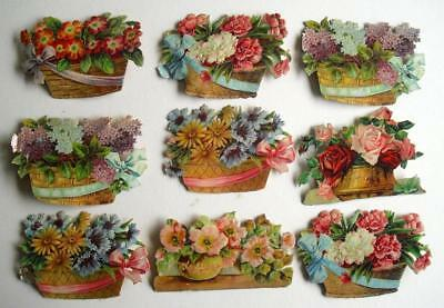 9 Victorian Chromo Die Cut Relief Scraps. Flowers in Baskets