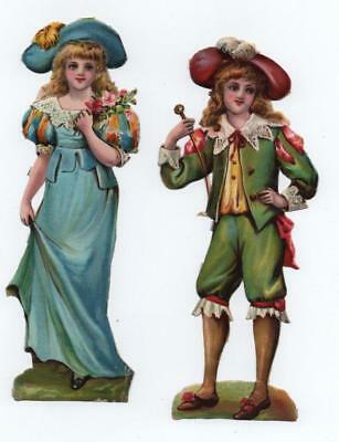 "2 Large 6.5"" high Victorian Chromo Die Cut Relief Scraps of Pretty Girls"