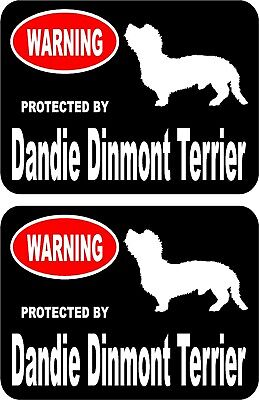 2 protected by Dandie Dinmont Terrier dog home window vinyl decals stickers #A