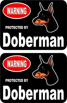 2 protected by Doberman dog car home window vinyl decals stickers #C