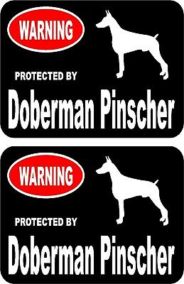 2 protected by Doberman Pinscher dog car home window vinyl decals stickers #A
