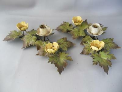 Antique Shabby Vtg Chic Italian Metal Tole Flowers Petite Candle Holder Pair