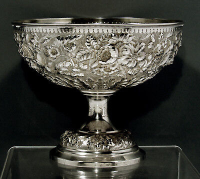 Whiting Sterling Silver Punch Bowl        c1890      HAND DECORATED