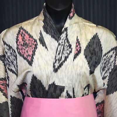 "Vintage Japanese Summer Kimono Robe Cover Up ""Ikat Diamonds"""