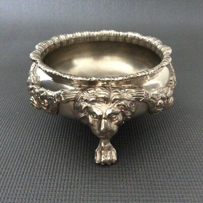 Large Silver Master Salt Cellar / Lions /Unknown Hallmarks / Coin Sterling 205g