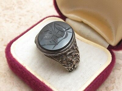 Vintage Antique Sterling Silver 925 & Carved Black Onyx Intaglio Seal Ring