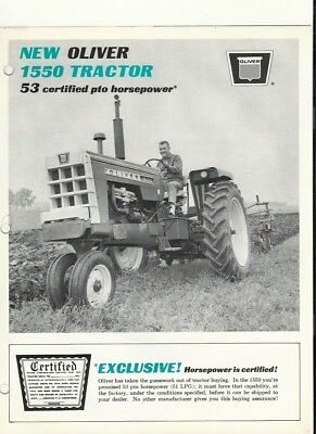 Vintage 1966 Oliver 1550 Tractor Brochure. FREE SHIPPING