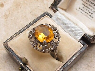 Vintage Antique Sterling Silver 925 & 5 Carat Citrine Ornate Ring