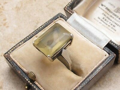 Vintage Sterling Silver 925 & 6 Carat Baguette Citrine Antique Ring