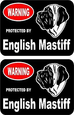 2 protected by English Mastiff dog home window vinyl decals stickers #A