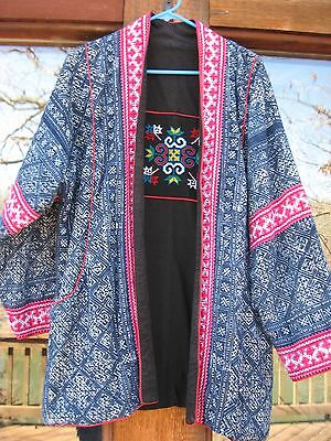Vintage Unique Reversible Asian Hand Embroidered Wrap Coat, M-L, UInisex