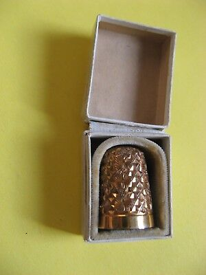 Vintage Gold Thimble Boxed Manoah Rhodes & Sons Goldsmith Jewellers Bradford