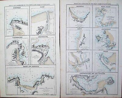 Antique MAPS x2, 19thC, SCOTLAND, Ports and Harbours of North East & West coasts
