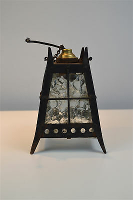 Small Arts and Crafts wrought iron hanging lantern with glass