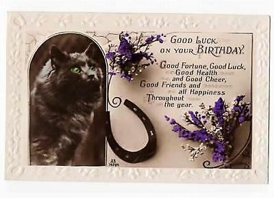 VINTAGE RP POSTCARD ,BIRTHDAY, LUCKY BLACK CAT, HEATHER, c1920s