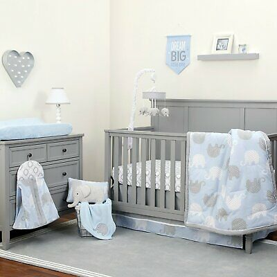 Blue Gray Elephant 8 pc Crib Bedding Set Baby Boy Nursery Blanket Diaper Stacker