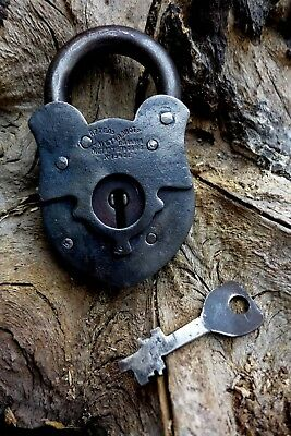 Antique Vintage Padlock with One Working Key, Collector, Hobby 1940 Old Russia