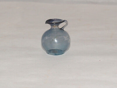 Antique Dollhouse Miniature Hand Blown Pitcher Tankard With Blue Tint German