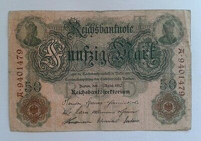 50 Mark Reichsbanknote 1910 Ros 42 21.04.1910