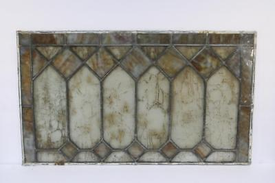 "Vintage Antique Leaded Stained-Glass Window Panel 24"" x 14"" – Unframed-02"