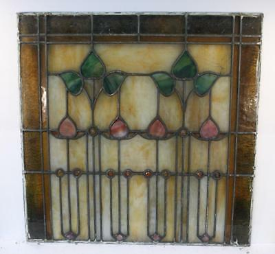 "Vintage Antique Leaded Stained-Glass Window Panel 24"" x 24""– Unframed-12"