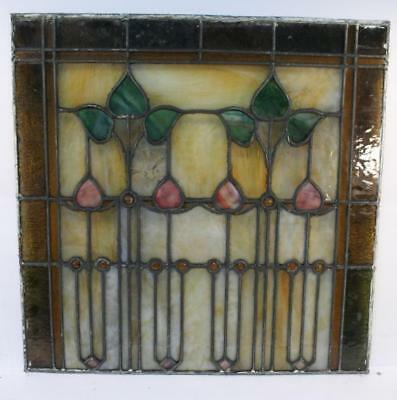 "Vintage Antique Leaded Stained-Glass Window Panel 24"" x 24""– Unframed-09"