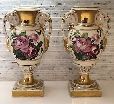 Pair Of Vintage French Pink Rose Porcelain Urns/Vases Lamps Victorian