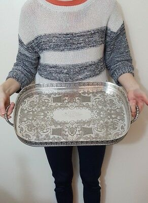 large antique silver plate tray