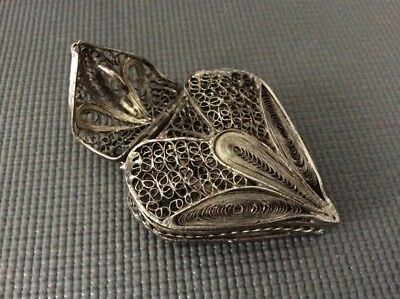 Sold Silver Heart Filigree Pill or Trinket Box / Pendant / Vesta Case
