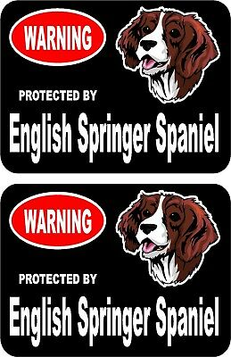 2 protected by English Springer Spaniel dog home window vinyl decals stickers #C