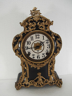 "Scarce Antique Kroeber ""Versailles"" Enameled Iron Case mantel clock"