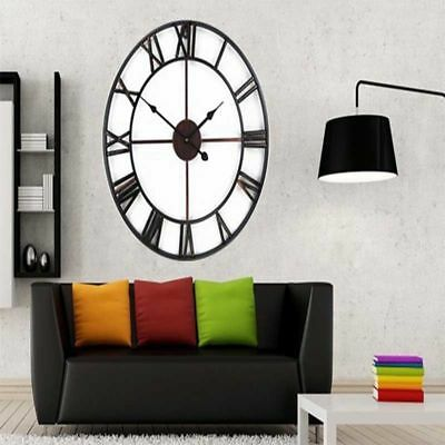 60Cm Roman Numeral Skeleton Antique Wall Mounted Large Clock Vintage Style - 306
