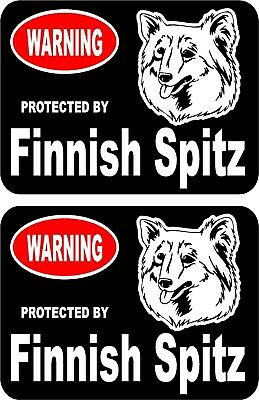 2 protected by Finnish Spitz dog car home window vinyl decals stickers #B