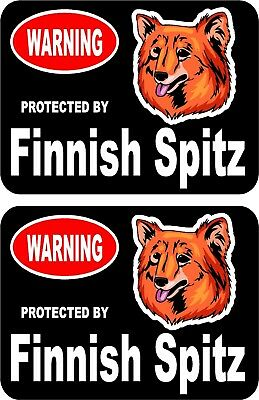 2 protected by Finnish Spitz dog car home window vinyl decals stickers #C