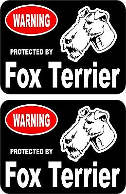 2 protected by Fox Terrier dog car home window vinyl decals stickers #A