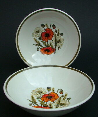 TWO J&G Meakin Poppy Poppies Pattern 2 x Soup Cereal Dessert Bowls 16.25m in VGC