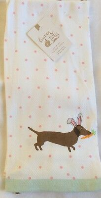 Dachshund Wiener Dog Easter Kitchen Towels Doxies in Bunny Ears Polka Dots NEW