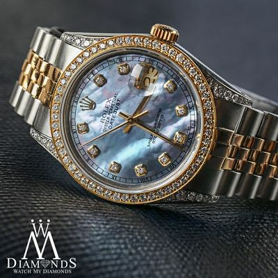 Rolex Stainless Steel & Gold 36mm Datejust Watch Tahitian MOP Diamond Dial
