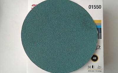 """50 3M Green Corps Stikit 8"""" Production Discs 40 Grade GRIT 01550 8 inch MMM BOX"""