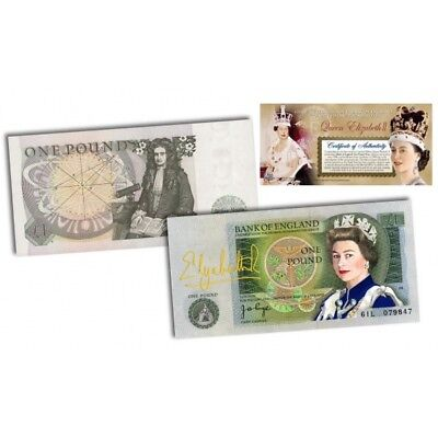 Extremely Rare and Limited QUEEN ELIZABETH II Colorized Bank of England 1 Pound